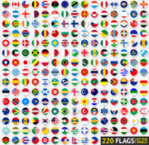 220 Flags of the world, circular shape. Flat vector illustration Royalty Free Stock Photography