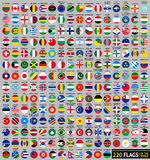 220 Flags of the world, circular shape. Flat vector illustration, set (april 2014 Royalty Free Stock Photography