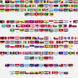Flags of the world, collection. Flags of the world, all sovereign states recognized by UN, collection, listed alphabetically by continents, eps 10 vector illustration