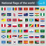 Flags of the world. Collection of flags - full set of national flags. Flags of the world part 3. Collection of flags - full set of national flags isolated on stock illustration