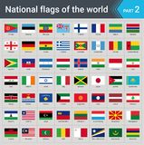 Flags of the world. Collection of flags - full set of national flags. Flags of the world part 2. Collection of flags - full set of national flags isolated on vector illustration