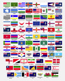Flags of the world, collection, part 2. Flags of the world, dependencies, provinces, islands, territories, disputed territories, regions, non recognized by UN royalty free illustration