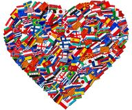 Flags of world contries. Flags of world countries and in heart love shape on white background: England Russia Italy Spain Scotland Germany US, China Greece royalty free stock photography