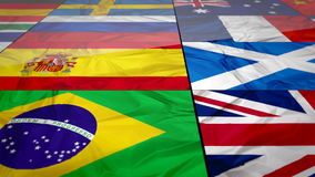 Flags of world contries. Flags of world united contries in a slideing wall 3d effect. England Russia Italy  Spain  Scotland  Germany US China Sweeden Greece stock video footage