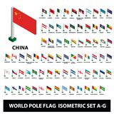 Flags of world countries Collection Pole Flags Isometric Set A-G royalty free illustration