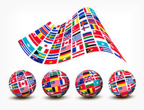 Flags of the world countries. Four globes. Vector Royalty Free Stock Photography