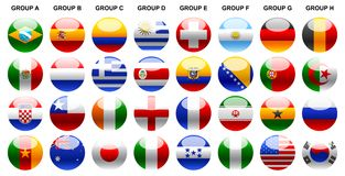 Flags world cup 2014. Web buttons, banners, laminated icons, flags of the world, set flags, world flags, world cup 2014, flags and shields, flags buttons vector illustration