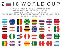 Rectangular flags of 2018 World Cup countries Royalty Free Stock Photo