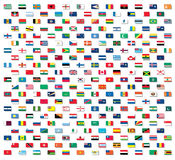 Flags of the world with drop shadows Royalty Free Stock Images
