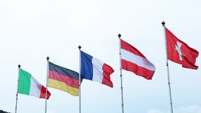 Flags of the world stock footage