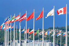 Flags of the world. Against the blue sky royalty free stock photo