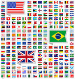 219 flags. Of world, flat vector illustration, set (march 2014 Royalty Free Stock Photos