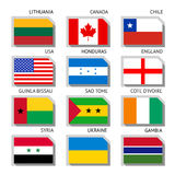 Flags of the world. Flags of world, flat vector illustration. Set number 01 Royalty Free Stock Image