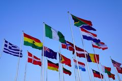 Flags of the world. Flying stock images