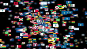 Flags of the World flying towards the camera, DOF, Alpha stock footage
