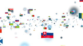 Flags of the World flying Stock Image