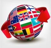 Flags of the world in globe with an arrow. Stock Photos