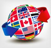 Flags of the world on a globe with an arrow. Stock Image