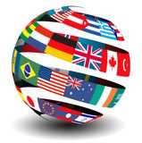 Flags of the world in a globe/sphere. Different flags of the world set in a globe/sphere with a ribbon/peel effect vector illustration