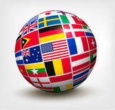 Flags of the world in globe. Royalty Free Stock Photo