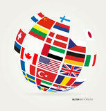 Flags of the world in globe Royalty Free Stock Images