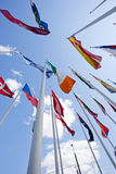 National flags of different country. Flags of the world happily blowing in the wind Stock Image