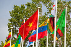 Flags of the world happily. Blowing in the wind stock photography