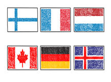 Flags of the world icon in cartoon scribble style on a white bac. Vector set flags of the world icon in cartoon scribble style on a white background Royalty Free Stock Photography