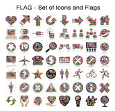 Flags of the world with icon set stock illustration