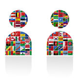 Flags of the world with icon set Royalty Free Stock Images