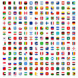 Flags of the World - icons. Rounded Rectangles Flags of the World with Official RGB Coloring and detailed emblems. industry standard dimensions vector illustration