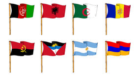 Flags of the World - letter A. Cartoon-like dawings of some of the most popular flags in the world: Letter A Royalty Free Stock Photos