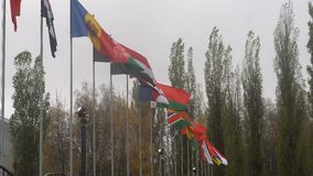Flags of the world. Many flags of the world stock footage