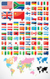 Flags and world map Royalty Free Stock Image