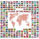 Flags of the world and  map on white background Stock Photos