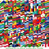 Flags of the world and  map on white background Royalty Free Stock Images