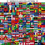 Flags of the world and  map on white background Royalty Free Stock Photo