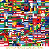 Flags of the world and  map on white background Stock Image