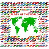 Flags of the world and  map on white background Royalty Free Stock Photos