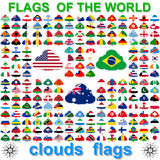 Flags of the world and  map on white background Royalty Free Stock Image