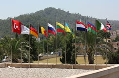 Flags of the world. Monument to Saint Apostle Nicholas, near the ancient ruins of Turkey Stock Photography