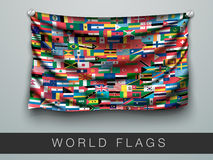 Flags of the world in one flag with shadow Royalty Free Stock Image