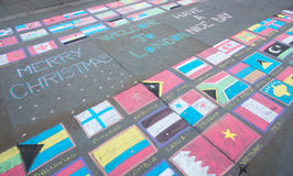 Flags of the world painted on the ground Stock Photography