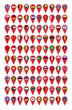 Set of 100 flags of the world on a pointer. 100 flags of the world on a pointer vector illustration