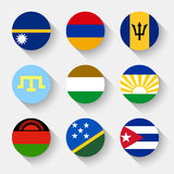 Flags of the world, round buttons Royalty Free Stock Photos