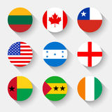 Flags of the world, round buttons. Flags of the world, set 01 with shadow Stock Photography