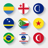 Flags of the world, round buttons Royalty Free Stock Images
