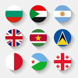 Flags of the world, round buttons Stock Photography