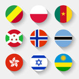 Flags of the world, round buttons. Flags of the world, set 12 with shadow Stock Photography