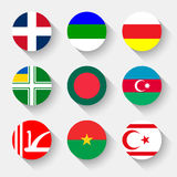 Flags of the world, round buttons Stock Images